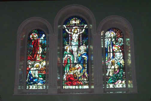 St Josephs Church The Rock Ballyshannon - Stained Glass windows behind Altar